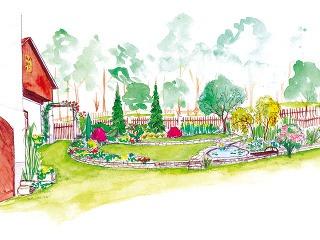 Úprava záhrady pri chalupe je vpláne len vhornej časti pri dome. Jej základom sú dve terasy vytvorené pomocou nízkych kamenných múrikov. Plot ostane klasický latkový, pri bránke ho doplní jednoduchá opora na popínavú ružu.