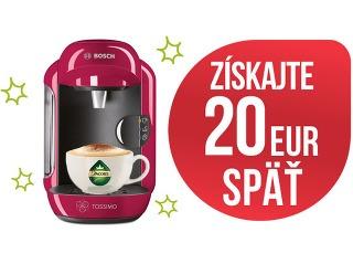 Najlepší čas zohnať si kávovar je práve teraz! Kúpte kávovar TASSIMO, registrujte na www.bosch-home.com/sk/tassimo a získajte 20 EUR SPÄŤ.