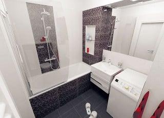 Niky na potrebnú kozmetiku, radiátor na sušenie uterákov, súprava na komfortné sprchovanie aj sprchovacia zástena, všetky praktické aj estetické prvky zpredchádzajúceho návrhu sa uplatnili aj vtomto variante.