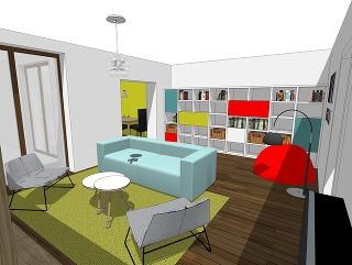 Biela farba je vprípade zariaďovania interiérov najobľúbenejšou voľbou. Umožňuje vyhrať sa sfarebnosťou nábytku a doplnkov. Bielu policovú zostavu môžu oživiť farebné dvierka, ktoré sa budú dať neskôr jednoducho vymeniť (študentská práca).