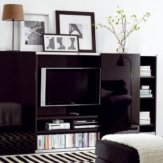 TV panel súložným dielom na médiá Bestå/Inreda zdrevovláknitej dosky slesklou čiernou fóliou. Rozmery: š 240 × h 40 × v128 cm. Cena 14348Sk (476,26 €). Predáva IKEA.
