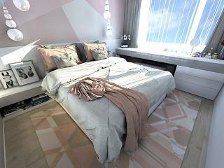 Útulná pastelová spálňa v