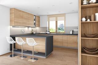 Jednoduchý a praktický návrh dennej časti rodinného domu z cenovo dostupných materiálov