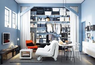 Rozkladacia pohovka IKEA PS LÖVÅS, 163 × 86 × 111 cm, rozmery postele 160 × 205 cm, oceľová konštrukcia, matrac z polyuretánovej peny, poťah zo 100 % bavlny, viac farieb, 299 €, IKEA