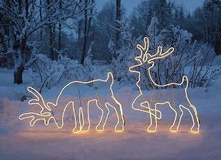 Svetelné dekorácie majú vzáhradách svoje stále miesto. Hitom sú severské zvieratá, ktoré obľubujú najmä deti.