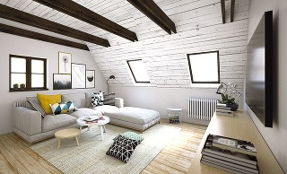 Rozťahovacia pohovka dokáže premeniť izbu na útulnú spálňu. Prací poťah je navyše veľmi praktický, keďže častými obyvateľmi izby sú malé vnúčatá majiteľov.