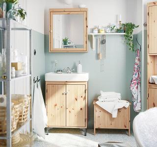 Umývadlová skrinka SILVERÅN, masívna borovica, 61 x 87,5 x 41 cm, aj biela, vponuke aj umývadlo, 79,99 €, IKEA