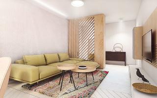 Výrazná sedačka, pestrofarebný koberec