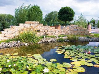 Vhodne vysadené okolie jazierka je dôležité. Ak vodnej ploche doprajete dostatok slnka, budete sa môcť tešiť aj pohľadom na najkrajšie vodné rastliny – lekná. FOTO CITY STONE DESIGN