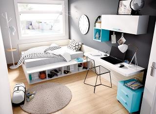 Domenšej izby sa hodí zostava nábytku, kde stôl zaberie len minimum miesta. Úplne postačí pracovná doska pevne pripevnená ostenu. Chýbajúce skrinky vspodnej časti nahraďte policami na stene.