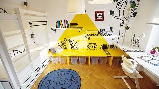 Rozprávková grafika dala izbe potrebnú dávku humoru adetskej bezprostrednosti. Inšpiráciou pre veselé obrázky bol známy ilustrátor Josef Lada, ktorého poznajú ľudia najmä ako autora kresieb vknihe Osudy dobrého vojáka Švejka.