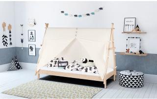 Ako zindiánskych čias. Posteľ od značky BLN Kids navrhla dizajnérka Camille Alix. Tá chcela vdetskom svete vytvoriť bezpečné miesto na spánok arast, vktorom sa kombinuje funkčnosť, harmónia aelegancia. Apráve ztýchto dôvodov si výrobky BLN Kids zam