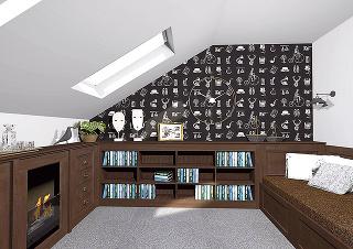 """Čierno-biela tapeta vštýle """"old fashion"""" upúta už odo dverí. Posteľ sa tvarom prispôsobila elegantnému vzhľadu miestnosti apôsobí skôr ako gauč. Knižnica, hoci je nízka, ponúka dostatočný priestor na všetky obľúbené knihy domáceho pána."""