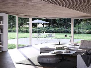 Zdvižno-posuvné dvere značky heroal s pravouhlým rohovým krídlom prinášajú otvorené presklené plochy do každého domova. Foto <sup>®</sup> heroal