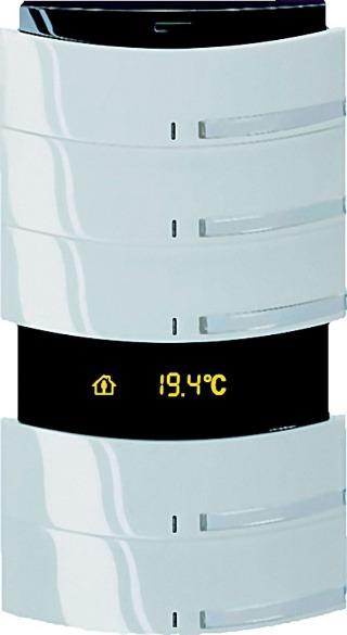 EIB senzor Busch-triton na obrázku je päťnásobný senzor s podsvieteným popisom, integrovaným termostatom a IR prijímačom.