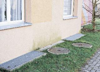 Na sokle fasády sa často vyskytuje lokálny riasový porast.