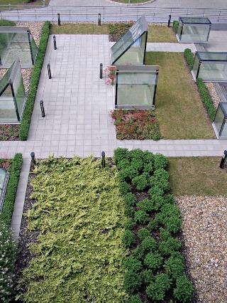Vegetačné strechy sú vhodné nielen na rodinných domoch, ale aj na moderných budovách slúžiacich ako sídla firiem. Takto vyzerá budova Siemens v Prahe. (Tukan V. H.)