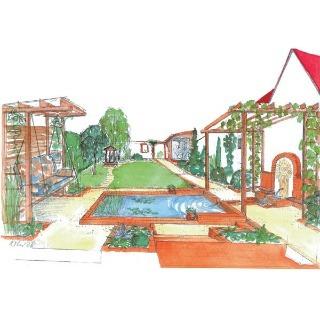 Moderná pravidelná záhrada