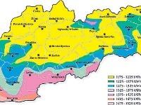 Solárna mapa Slovenskej republiky.