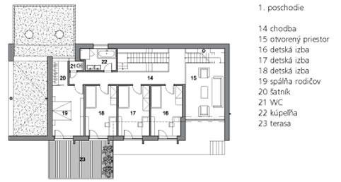 1. poschodie  14 chodba 15 otvorený