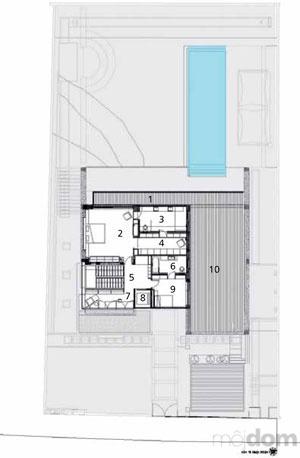 Pôdorys poschodia 1 balkón 2 spálňa