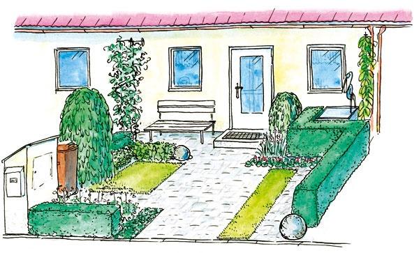 tvarovaný živý plot kontrast hranatých