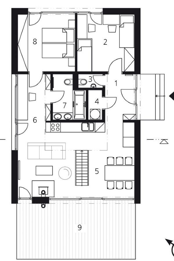 Pôdorys prízemia 1 zádverie5,4 m2 2