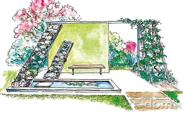 Pokojné odpočívadlo vmodernej záhrade,