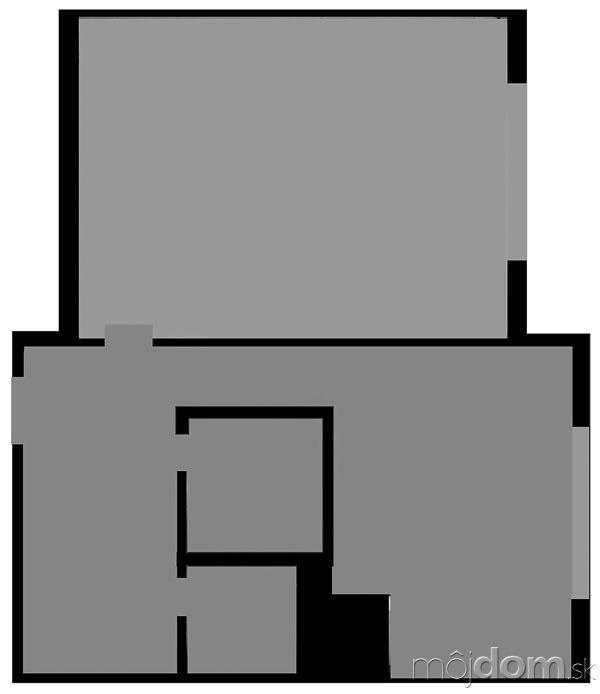 Pôvodný pôdorys. Chodbička medzi