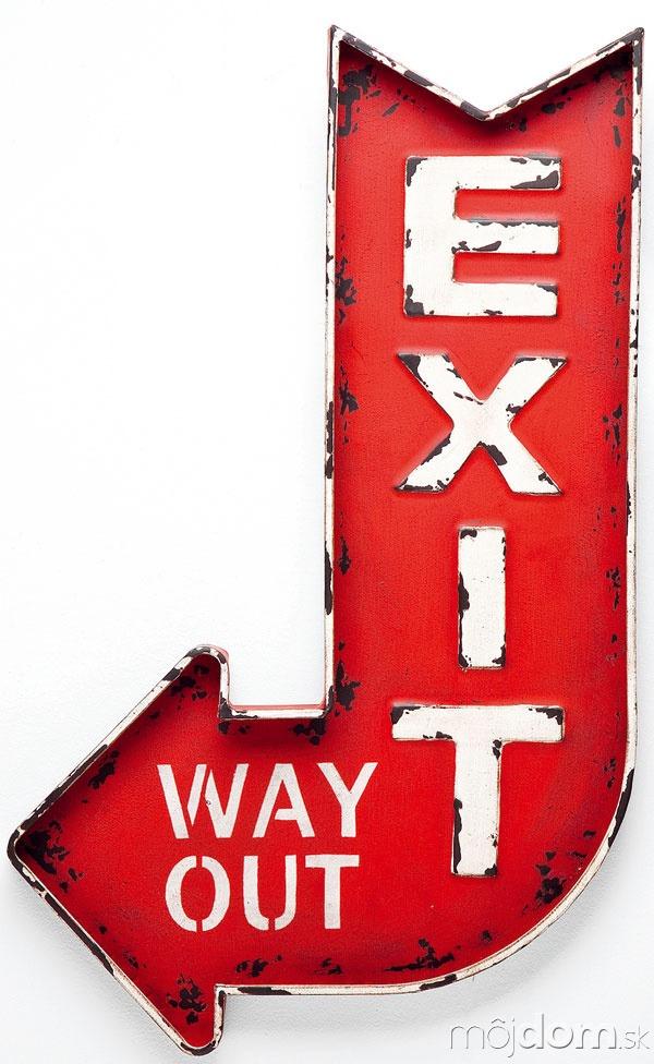 Dekorácia Exit, práškovaná oceľ,