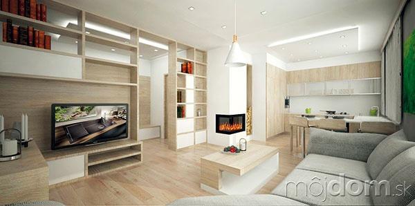 Nábytková priečka oddeľujúca obývačku