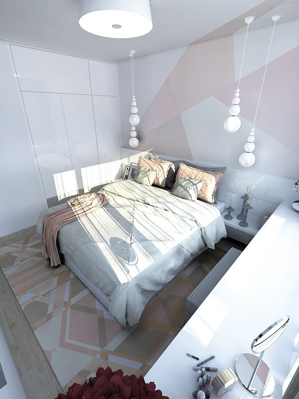 715554ac5fb Útulná pastelová spálňa v novom byte podľa požiadaviek čerstvých ...