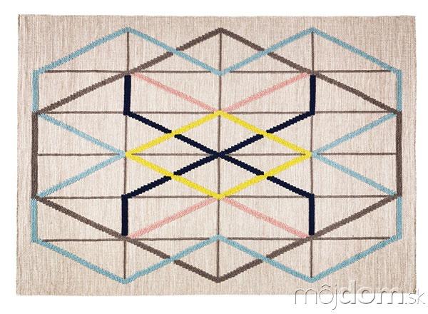 Viacfarebný hladko tkaný vlnený