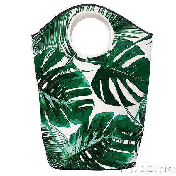 Krémovo-zelený kôš na bielizeň