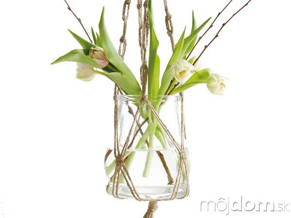 Závesný kvetináč, výška skla