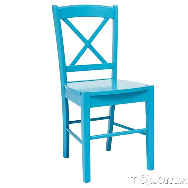 Modrá ačervená stolička od