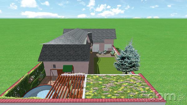 Zelená strecha na prístrešku