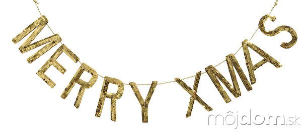 Girlanda Merry-Xmas vzlatej farbe