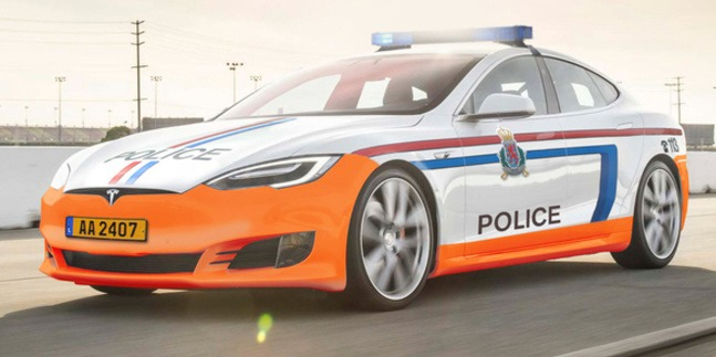 Policajná Tesla v Luxembursku