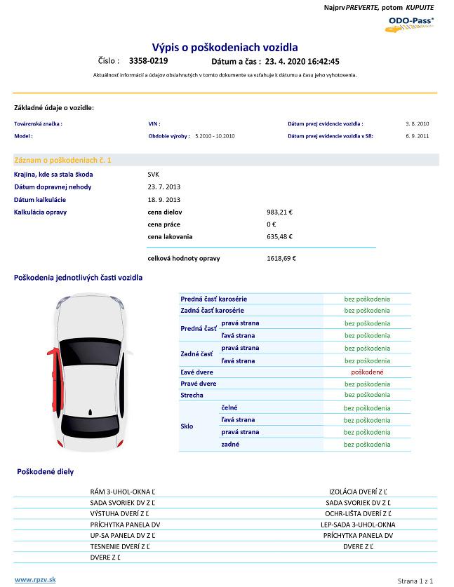 Výpis o poškodeniach vozidla